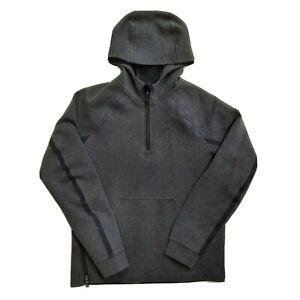Lululemon Men's 1/4 Zip Pullover Hoodie Jacket Gray Black Mens Medium Fleece EUC