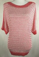 Chicos Size 2 Sweater Tunic Top Pullover 3/4 Sleeve Textured Sheer Pink White
