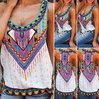 Womens Boho Top Vest Tank Tops Casual Beach Sleeveless Loose Lady Blouse T Shirt