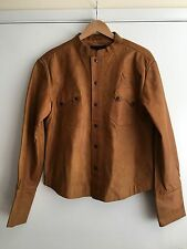 AllSaints Men's Real Leather Jacket Banded Collar Brown Button Front Size Large