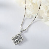 925 platted Silver Lord's Prayer Holy Bible Open Pages Locket Charm Pendant