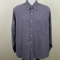 Eddie Bauer Blue White Checks Men's L/S Casual Button Shirt Size Medium M