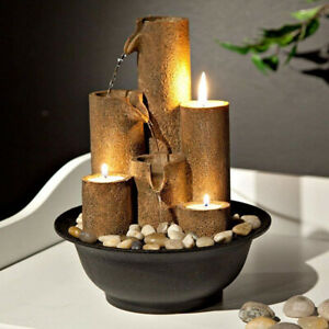 Tabletop Water Fountain 3 Candles Indoor Waterfall Zen Relaxation Tranquility