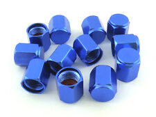 FREE SHIPPING 12PCS.BLUE ALUMINUM TIRE TYRE AIR DUST VALVE STEM HEX CAPS.