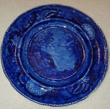 19th C. Dark Blue Historical Staffordshire Plate View Of Trenton Falls E W & S