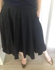 Piper Womens Skirt Midi Black Cotton Circle Short Long Side Split Sz 14