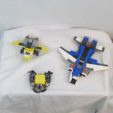 lego lot 3 airplane jet submarine plane parts lot  cockpit tail wheel fun