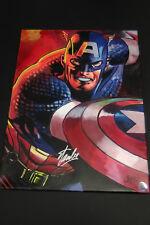 Stan Lee Marvel Captain America Signé Toile 18x24 Cargill Peinture Hologram