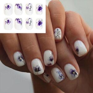 Fake Press On Short Flower Nails Tips False Nail Full Cover 24pcs/set with Glue