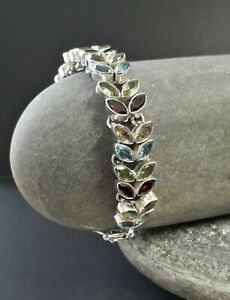 Chunky Sterling silver Bracelet Set With Peridot,Garnet,Topaz & Citrine stones