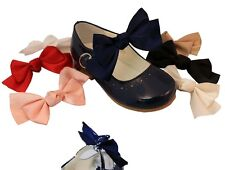 BABY-GIRLS SEVVA ELASTIC ADD ON SHOE BOWS SATIN RIBBON BOWS FOR SHOES ALL COLOUR