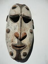 Papua New Guineas tribal  White painted vintage hand carved wood art mask.