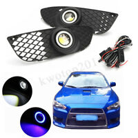 Halo Ring Fog Lights Lamps For Mitsubishi Lancer 2008-2014 Clear Lens & Wiring