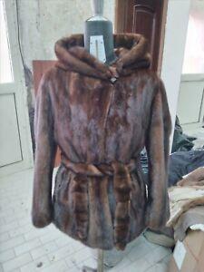 Vera pelliccia visone , giaccone con cappuccio