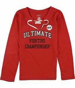 UFC Womens Lace-Up Collar Graphic T-Shirt, Red, Medium