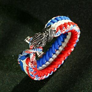 Men's Captain Barbossa Charms Paracord Bracelet Bangles Outdoor Hiking Camping