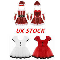 UK Kids Girls Christmas Ballet Skating Dress Xmas Santa Dance Leotards Costumes
