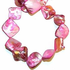 """MP1141L Pink Diamond 16mm - 20mm Nugget Mother of Pearl Gemstone Shell Beads 15"""""""