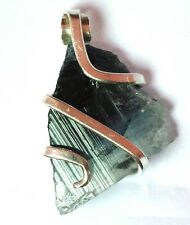 Crystal in Sterling Silver Pendant Art Wrap 24 ct Blue Cap Bi Color Tourmaline