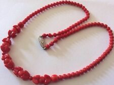 Art Deco Vintage Jewellery Czech Red Glass Bead Necklace Silver Clasp Signed BN