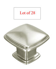 28 Satin Nickel or Brushed Nickel Kitchen Cabinet Square Knobs Pulls 31MM  81091