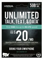 UNREAL MOBILE 3-MONTH SIM KIT 5GB 4G/MONTH BRAND NEW UNOPENED NEW Free Shipping