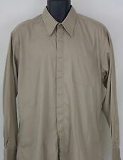 Mens Carlo Pacini Long Sleeve Brown Button Front Shirt Size 16 ½ 34/35