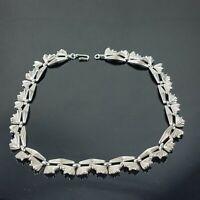 Trifari Fan Art Deco Silver Tone Vintage Collar Necklace  Signed