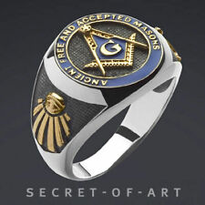 Men Masonic Ring AF & Am Freemason Silver 925 Sterling 24k-gold Plated Parts