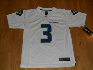 New Nike RUSSELL WILSON White SEATTLE SEAHAWKS Youth NFL Team Replica JERSEY Lrg