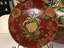Oriental Accent-Decorative Plate-Williamsburg-Red Floral/Artichokes-10.5' Round-