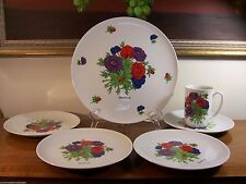 Signed Georges Briard Anemone Cake/ Round Chop Platter & (4) Serving Plates Euc!