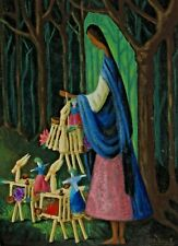 Mexican Modernist painting of a Woman in a Forest with Toys signed M.L. Robles A