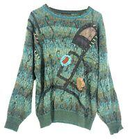 VTG Vittorio Rocchetti Knit Art To Wear Sweater Sz M Crew Neckline Long Sleeve