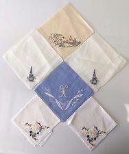 6 Vintage Cotton Ladies Handkerchiefs, Hemmed & Delicately Handstitched