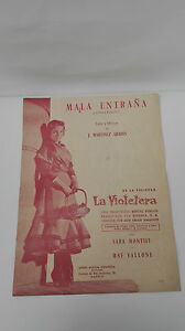 Antico Spartito -testo Mala Entraña Film The Violetera Sara Montiel 1957