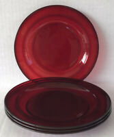 "Vintage Ruby Red Glass Salad Plates 7 1/2"" Set Of 4 Arcoroc France"