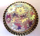 serre passe foulard ancien bijou rétro vintage couleur or fleur reflet 259