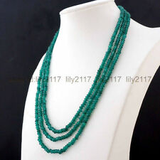 17-19inch 2x4mm Faceted 3 Rows Genuine Natural Green Emerald Gems Beads Necklace
