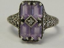 VINTAGE STERLING SILVER AMETHYST/ DIAMOND FILIGREE RING 7,75 SIZE
