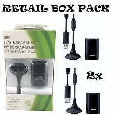 2x NEW BLACK PLAY AND CHARGE KIT + RECHARGEABLE BATTERY FOR XBOX 360 UK SELLER