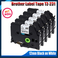5 PK Brother P-Touch TZe-231 TZ-231 12mm Black on White Standard Laminated Tape