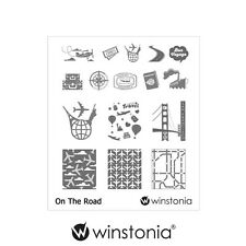 Winstonia Nail Art Stamping Image Plate ON THE ROAD Polish Travel Wanderlust Fun