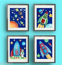 SPACE NURSERY WALL ART DECOR ROCKETSHIP KIDS BOY BABY PLANETS ART PRINTS