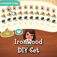 Complete Ironwood DIY Recipe Set Materials Wood Iron Nuggets New Horizons