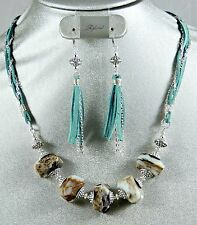 BLUE OPAL TIBETIAN SILVER AND BLUE SUEDE LEATHER NECKLACE/EARRING SET