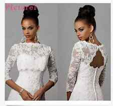 3/4 Sleeved White Lace Bolero Shrug Jacket Stole Wedding Prom Party Dress T31UKA