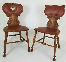 Antique Pair Victorian Carved Oak Leather Hall Accent Chair JR Horner Revival