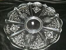 """Fostoria Navarre Baroque 14"""" Torte Plate Scalloped Etched Crystal"""