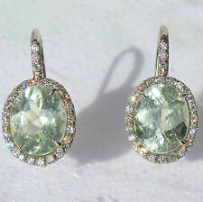 10 Carat Green Amethyst Diamonds 18K White Gold Dangle Earrings Drops November